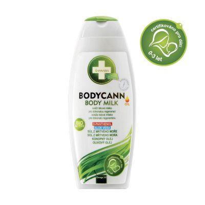Bodycann body milk, dětská pokožka, ekzematická pokožka, lupénka, spálení sluncem, po opalování,